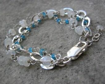 Luna...........Sterling Silver Multi strand Rainbow Moonstone  and Apatite Gemstone Bracelet