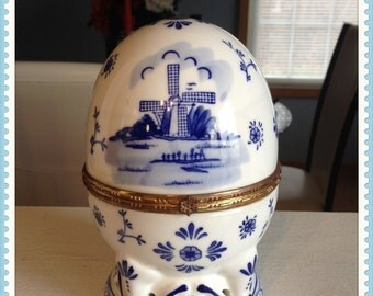 Blue and White Egg Trinket, Holland, Windmill, Delft Blue, Handpainted, Designed by TS, Vintage 1980's