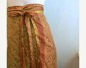 ON SALE vintage.  INDIAN Green and Gold Yellow Silk Wrap Skirt // M