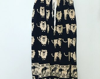 vintage. Tribal Black and White Cotton Drawstring  Mid Full Skirt / India / One Size fits All