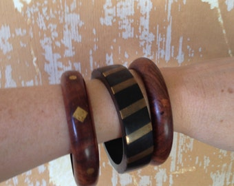 Jewelry. Vintage. 70s Wood and Brass Bangles  // Statement Bracelets Set of 3