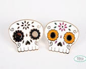 black or colorful sugar skulls hard enamel pins