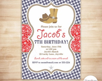 Cowboy Birthday Party Invitation Template - Red Blue Paisley Boy Birthday - EDiTABLE - INSTANT DOWNLOAd