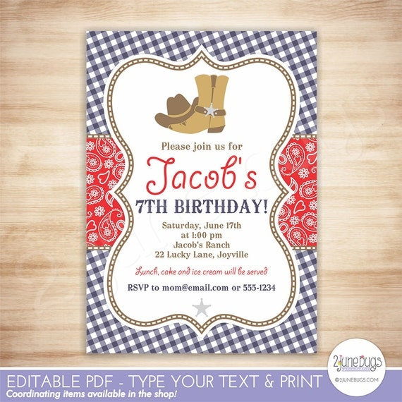 Cowboy Birthday Party Invitation Template Red Blue Paisley Boy - Cowboy birthday invitation template