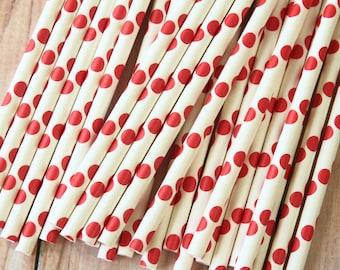 Scarlet RED Big Dots paper straws