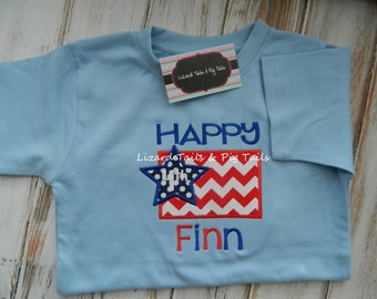Happy 4th of July Applique Shirt - Boys or Girls - Stars and Stripes Shirt - Sibling Matching July 4th