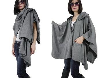 Chic Modern Casual Oversize Dark Heather Grey Hooded Poncho Coat Cloak Cape Women Men Jacket Coat Cardigan Sweater Scarf Shawl With 2 Pocket