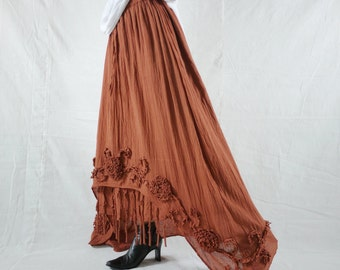 Plus Size Funky Boho Gpysy Hippie Floral Applique Burnt Orange Layer Light Cotton skirt Fit From Size 8  To Size 22