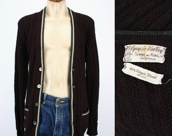 Men's Vintage 50s Sweater Collegiate Cable Knit Maroon Red Wool w Stripes~ Olympic Valley Towne and King Ltd California Label ~ 50s Sweaters
