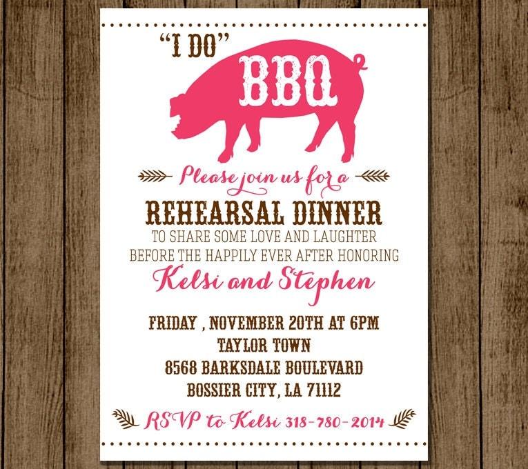 Rehearsal Dinner Invitation I Do BBQ Customized Invite Bridal