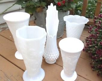 5 Vintage Milk Glass Vases Set of 5 Hobnail, Harvest Grape for Flowers