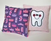 Princess Tooth Fairy Pillow, Queen Pillow, Tooth Pillow with Pocket, Tooth Pillow for Girls, Pink Tooth Pillow, Princess Crown Pillow
