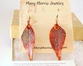 Copper Dipped Real Laurel Leaf Earrings, Autumn Leaves, Long Earrings