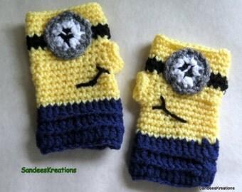 Children's Minion Gloves, Fingerless Crochet Gloves, Kid's Winter Gloves, Winter Accessory
