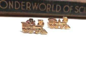 Raw Brass Train Cuff Links - Small Trains Cufflinks - Mens Gift Soldered Conductor Wedding Locomotive  Engine