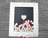 Unique Wedding Guest Book Alternative, Wooden hearts  Drop on the Top Hearts Frame - Pick your size and colors Ornate wood frame