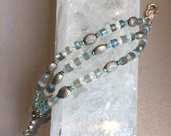 Topaz,Labradorite,Quartz, Sterling Triple Strand Gemstone Bracelet