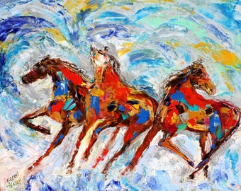 Original oil painting Wild Horses abstract palette knife impressionism on canvas fine art by Karen Tarlton