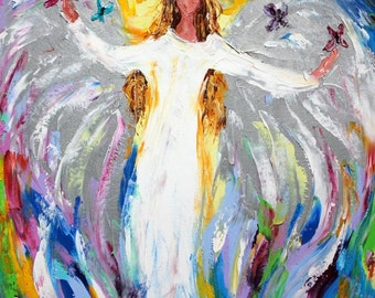 Fine Art Print made from image of oil painting by Karen Tarlton - Angel and Butterflies