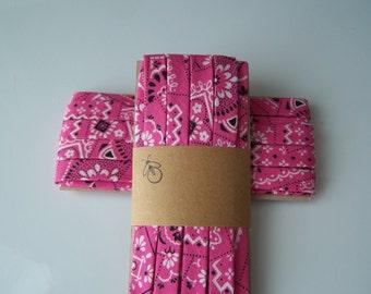 3 Yards Handmade Cotton Bias Tape Binding Bright Pink Bandana 1/2 Inch Double Fold