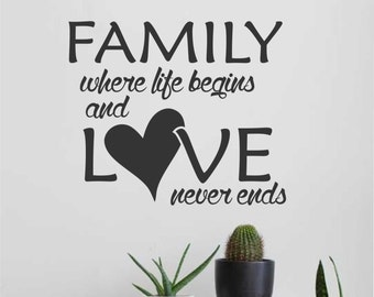 Family Life Begins Heart, Vinyl Wall Lettering, Vinyl Wall Decals, Vinyl Letters, Vinyl Lettering, Wall Quotes, Home Decal, Family Decal