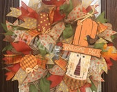 Welcome Fall Scarecrow Wreath