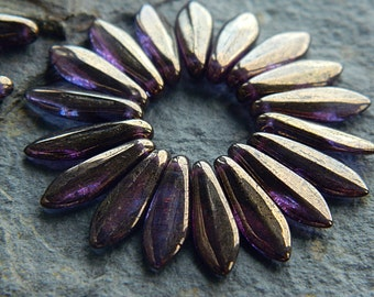 Bronzed purple dagger beads, Czech glass beads, Long Daggers, 16x5mm  (30 pcs) NEW