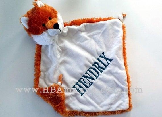"Orange FOX Minky Blanket - Fox Lovie Blankie - Monogram Lovey 13"" x 13"""