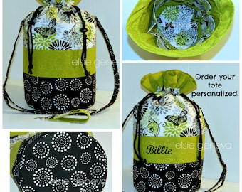 Knitting  DrawstringProject Bag Black Chartreuse Green Butterflies & Dots Tote Working Basket Yarn Bowl Personalized