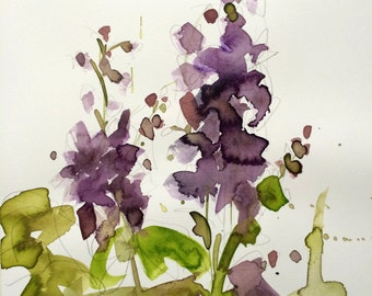 Delphinium Original Watercolor Floral Painting by Angela Moulton 10 x 14 inches