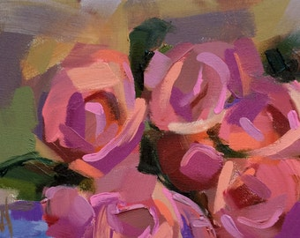 Bunch of Roses no. 2 original floral oil painting by Angela Moulton 11 x 7 inches on canvas pre-order