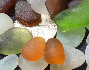 Beach Glass or Sea Glass of Hawaii beach  GOLD!  ORANGE? Rare colors! Bulk Sea Glass! Mosaic Tiles! Red! Rare colors!