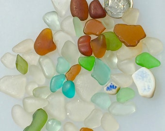 Sea Glass or Beach Glass from Hawaii Beaches 50 pcs AQUA! JEWELRY QUALITY! For Sea Glass Jewelry! Bulk Sea Glass! Mosaic Tiles