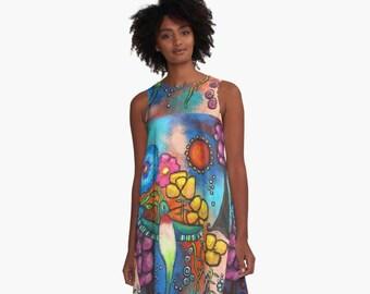 Spring Paradise Hummingbird and Flowers Women's A-Line Dress XS~2XL Original Art