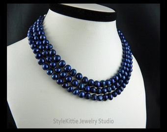 Cobalt Blue, Cultured Freshwater Pearls, Silk Hand Knotted, 52 Inch Pearl Necklace, Layered Pearl Necklace, Layered Pearl Bracelet, Jewelry