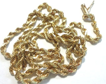 "Gold Chain Solid Link 14k Gold Rope Chain Vintage Gold Rope Chain 3mm Wide Diamond Cut Rope 24"" Long 18.4 Grams Solid 14k Gold Links"