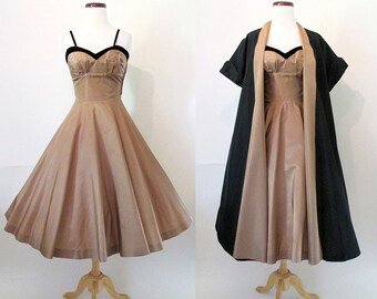 ON HOLD Dreamy 1950's Two Piece Satin Cocktail  Dress with Matching Coat Rockabilly VLV Pinup Girl Vixen Shelf Bust Circle Skirt Size-Small