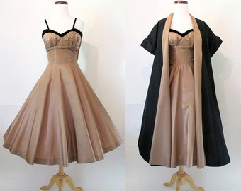 Dreamy 1950's Two Piece Satin Cocktail Party Dress with Matching Coat Rockabilly VLV Pinup Girl Vixen Shelf Bust Circle Skirt Size-Small
