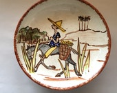 Vintage Painted Pottery Bowl from Brazil Person on Donkey