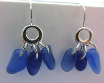 Blue Seaglass Earrings, Drop Earrings, Beach Glass Jewelry, Sea Glass Earrings, Beach Glass Dangle Earrings, Sea Glass Jewelry