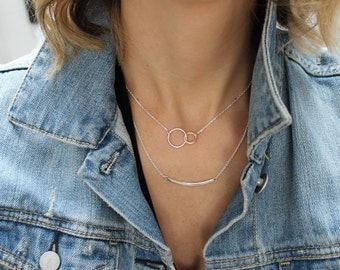 Double circle necklace, Eternity necklace, Circle necklace, Silver circle necklace, Sterling silver necklace, Gifts for her,Eternity circles