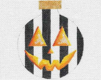 Black and White Stripe Pumpkin Needlepoint Ornament - Jody Designs #B227
