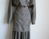 RESERVED SALE Gianni Versace black ivory check oversize shirt and fitted skirt
