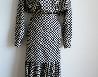 Gianni Versace black ivory check oversize shirt and fitted skirt