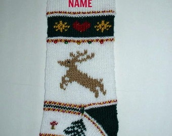 Reindeer Christmas stocking personalized hand knit. Traditional. One of a kind Christmas decoration. Holiday decor. Ready to ship.