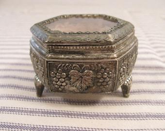 Vintage Pot Metal Faux Jewelry Casket or Trinket Box - Cast Metal - Made in Japan - Hexagonal Shape - Plexiglass Lid