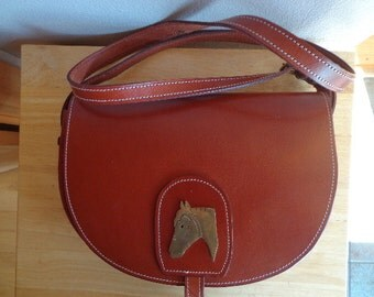 Vintage Leather Purse with Horse Motif Western Attire