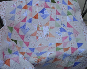 Ellie Ann Lap/Twin Topper Quilt - Feminine and Floral Patchwork
