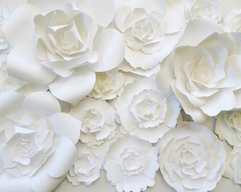 Giant Paper Flowers, large paper flower backdrop, wedding backdrop, paper flower backdrop, paper flower decor, baby shower backdrop