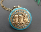 Owls turquoise Locket necklace  - antique brass  Perfect gift for friends, family, mother day, anniversary, wedding gift.